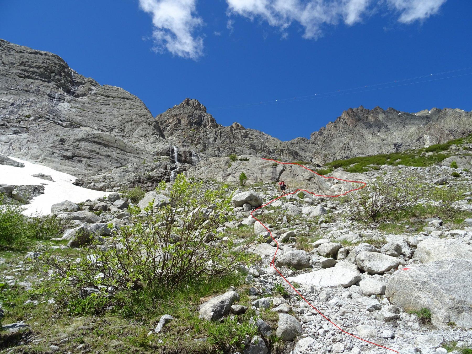 In rosso la traccia di salita che porta alle prime funi del Sentiero Matarot.