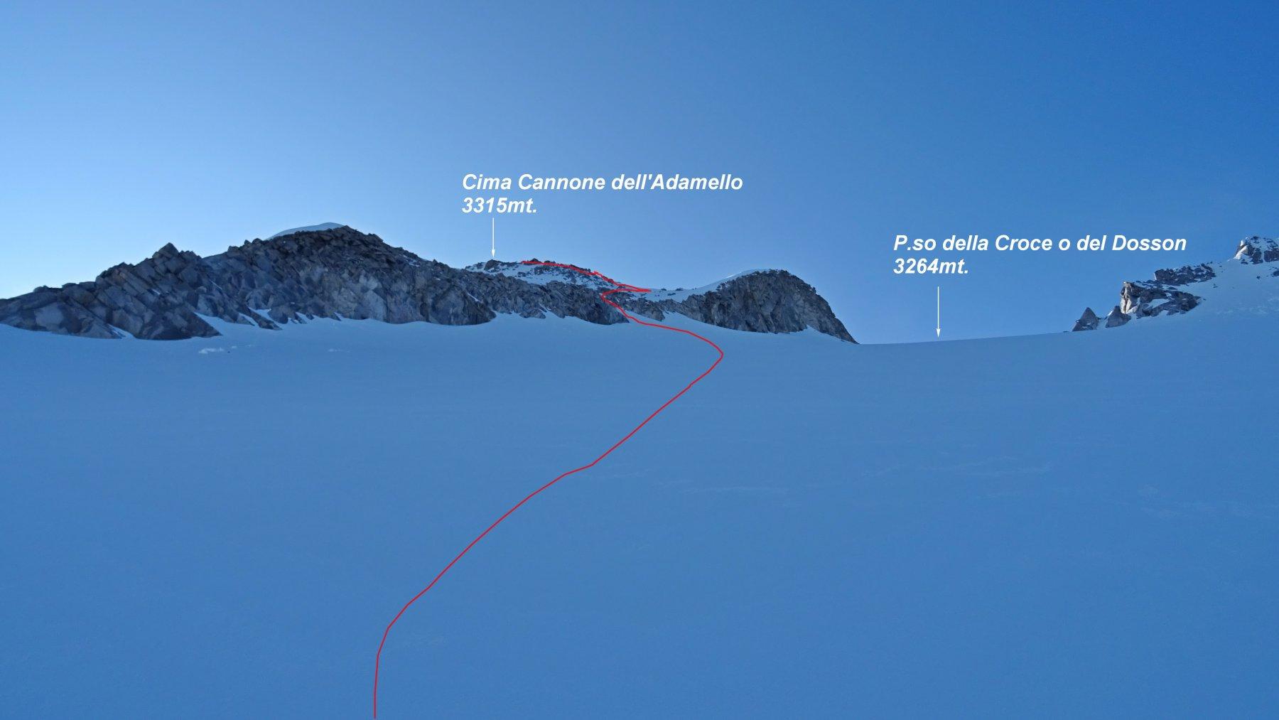 In rosso la traccia di salita verso Cima Cannone.