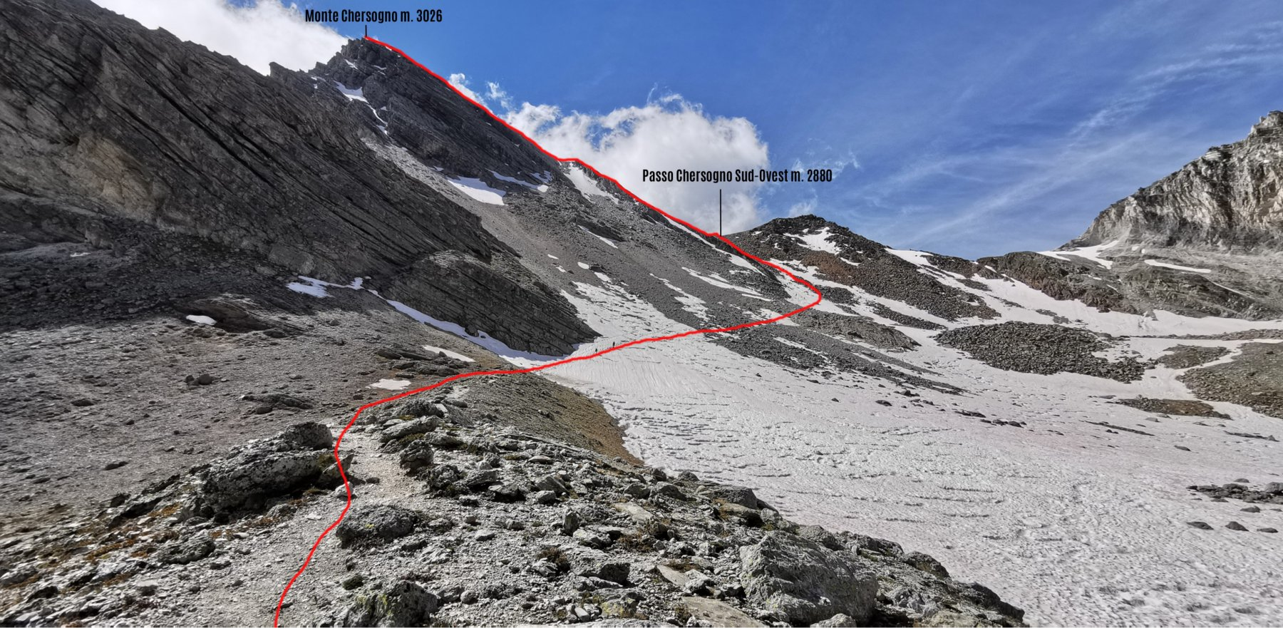 avvicinandosi al Monte Chersogno, itinerario di salita