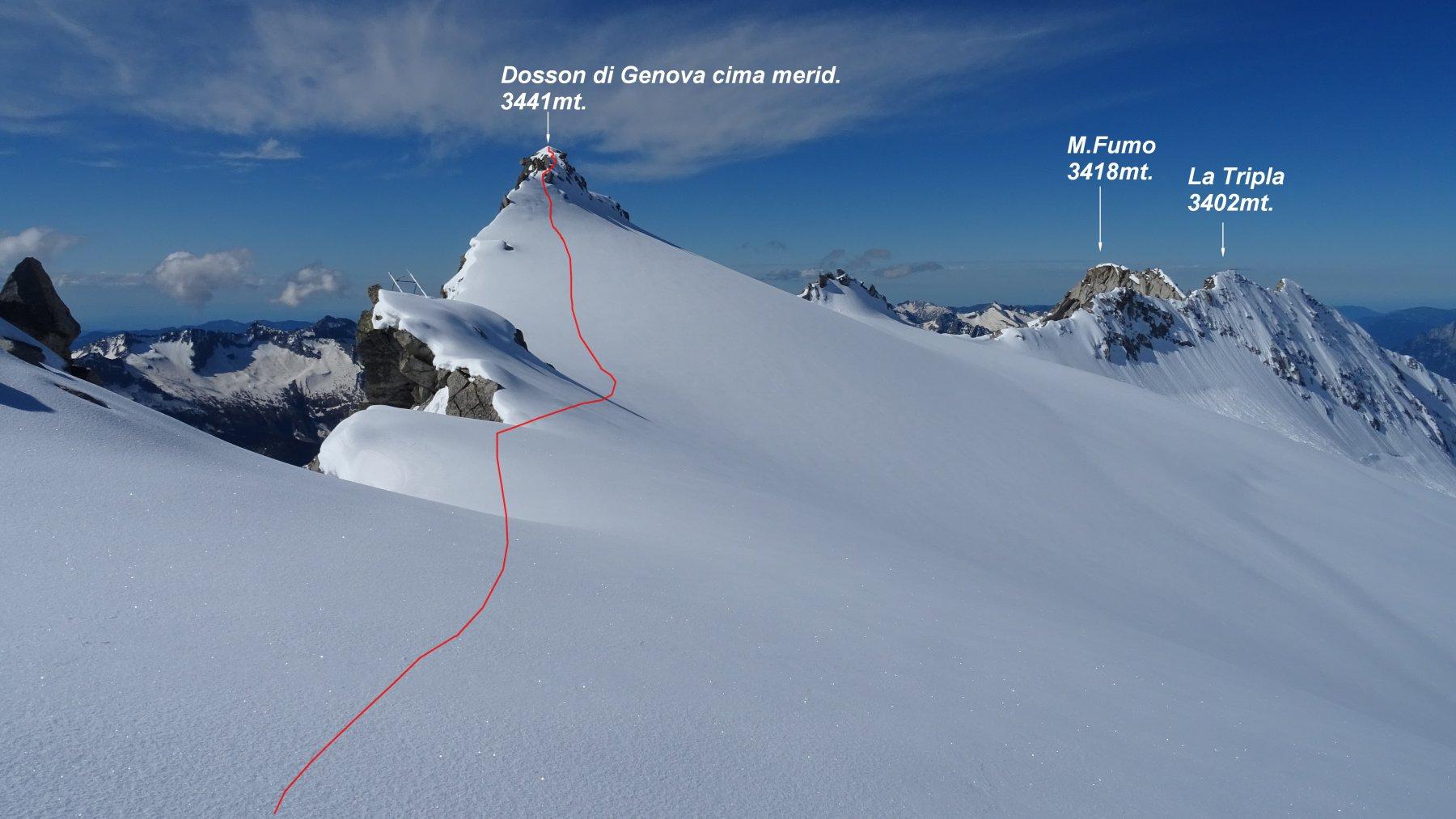 In rosso la traccia di salita verso il Dosson di Genova meridionale.