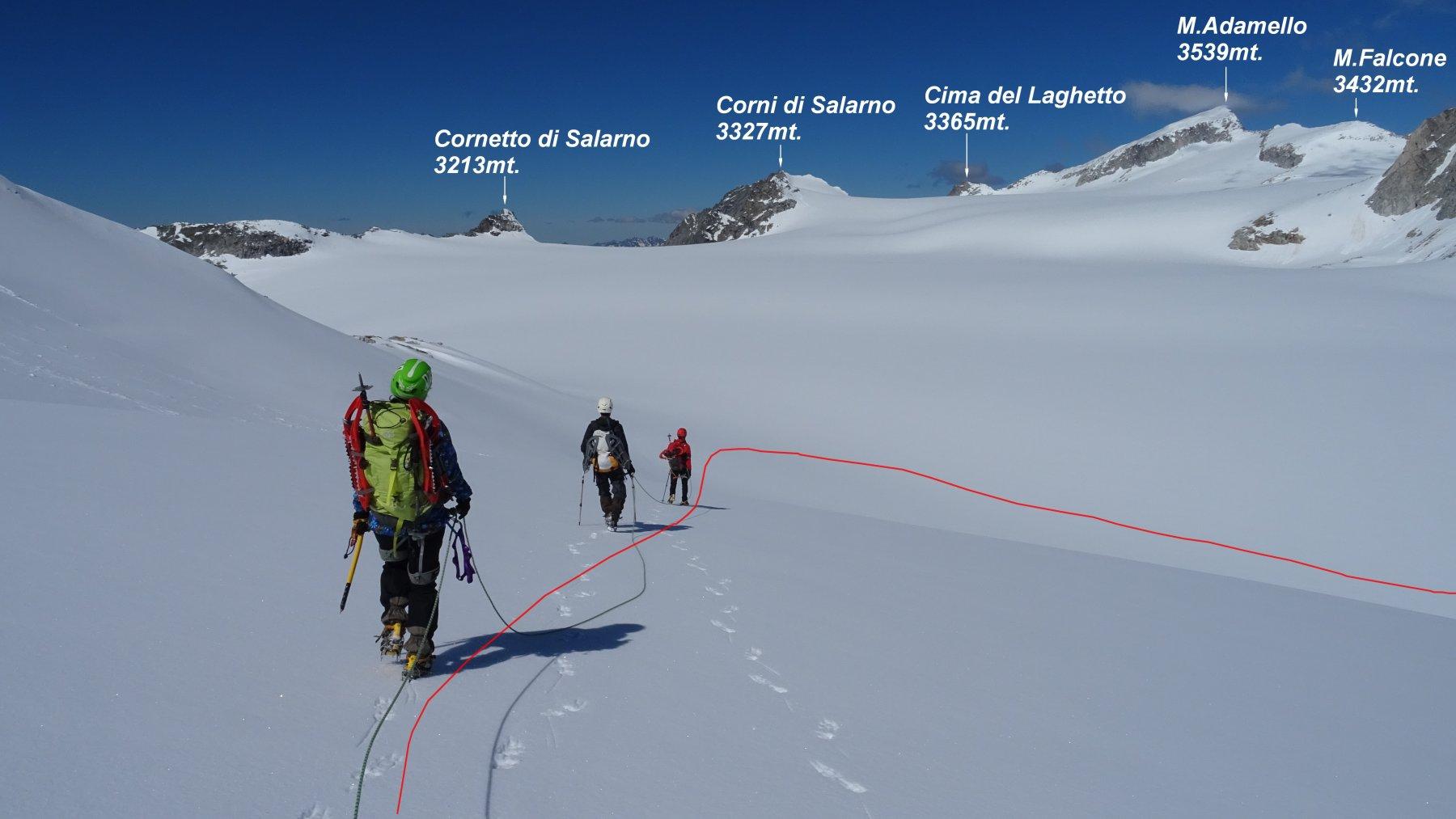 In rosso la traccia di discesa sul Pian di Neve.