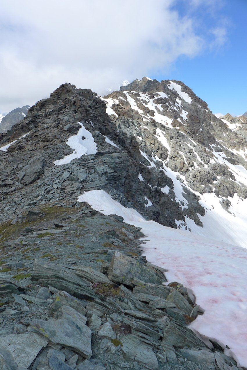 la lunga cresta vista dal colle Pisonet
