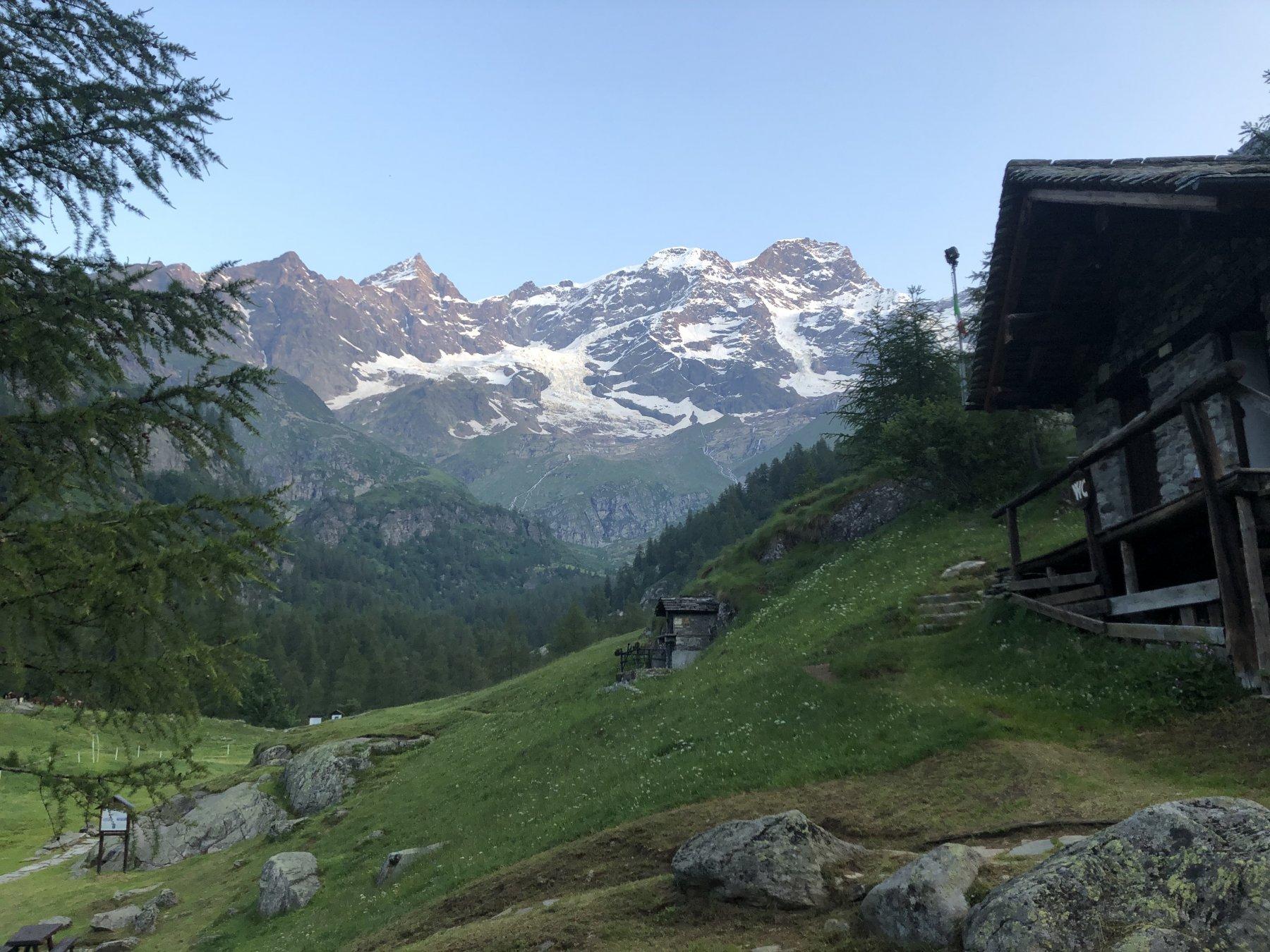 Il Monte Rosa dal rifugio Pastore