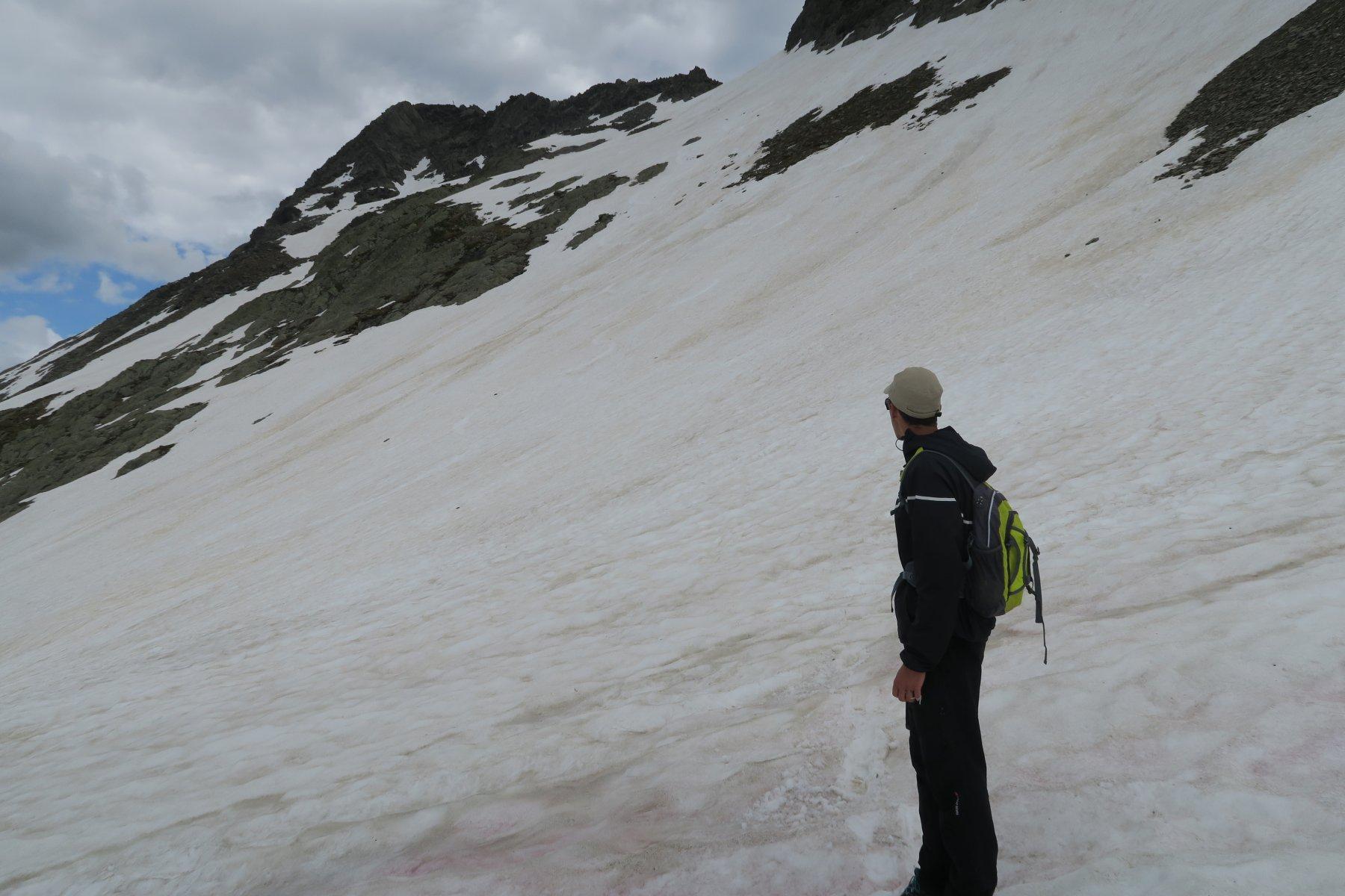 il nevaio che ci porterà verso il Colle