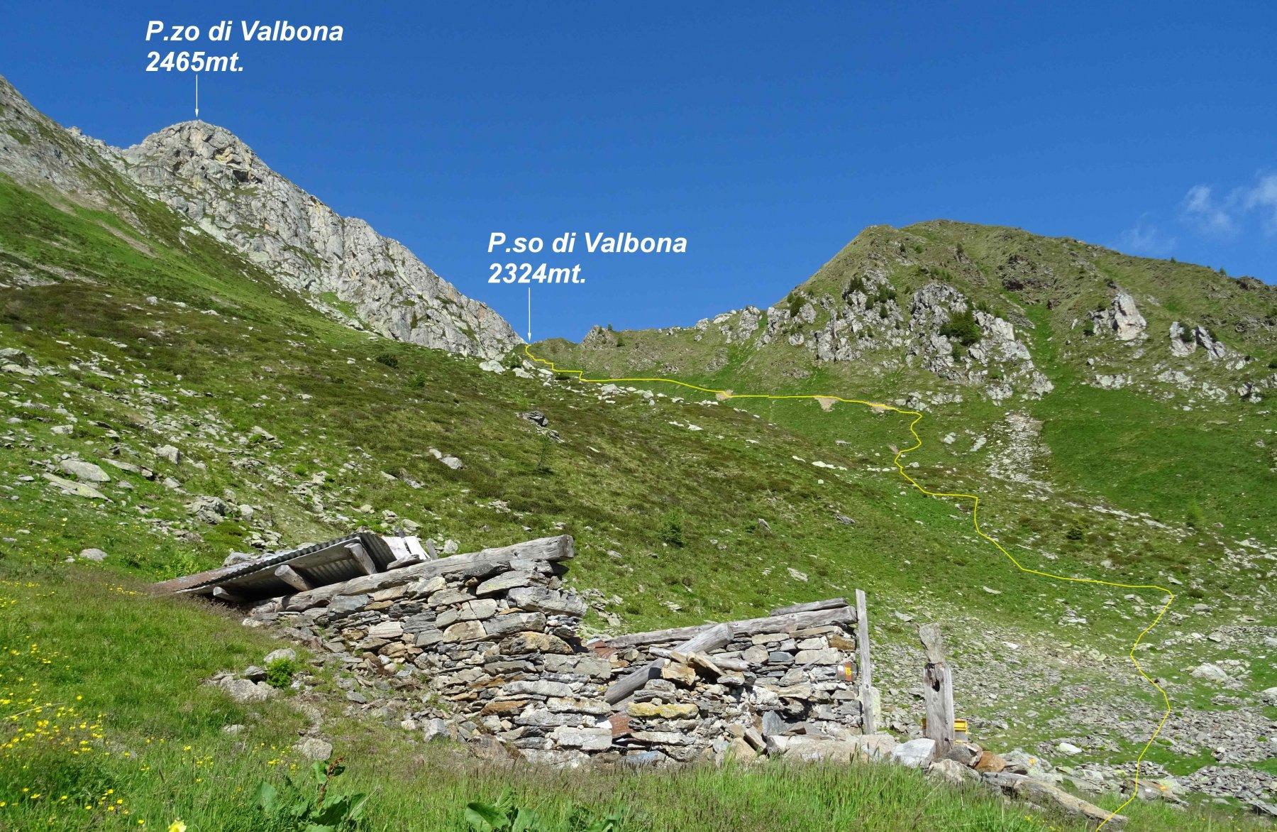 In giallo la traccia di discesa dal P.so di Valbona vista dalle Baita Gavazza 2153mt.