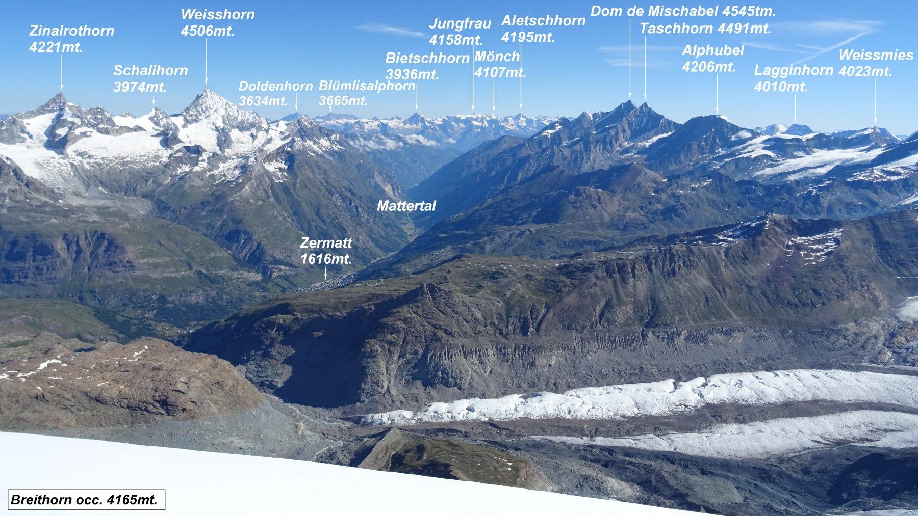 Super panorama dalla vetta del Breithorn occidentale.