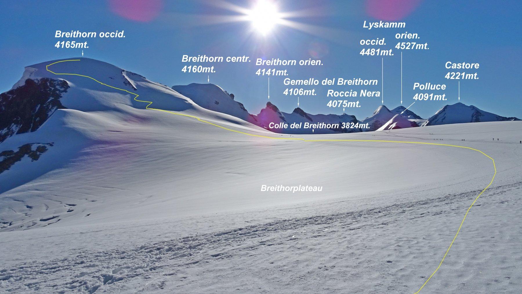 Panorama dalla sella glaciale a quota 3800mt. tra il Piccolo Cervino e la Gobba di Rollin.