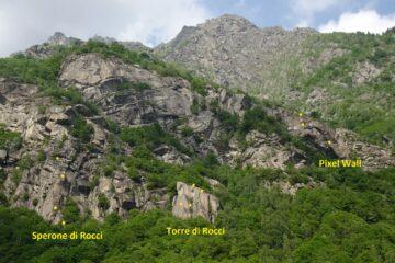 Lo Sperone, la Torre di Rocci e Pixel Wall dalla strada per San Lorenzo