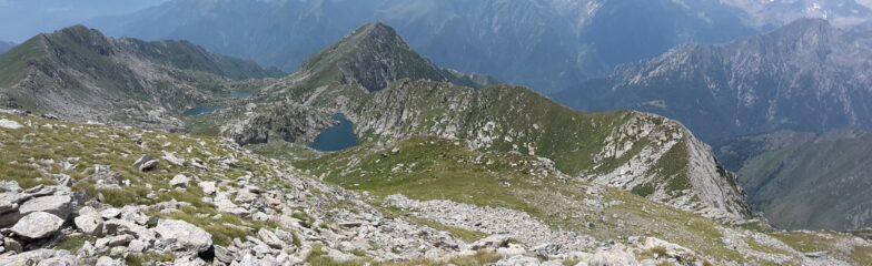 Da Pian Talorno il Canaussa con, a destra, il Montin e lontana Cima delle Gheule