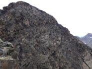 In vista della cima e della via normale.