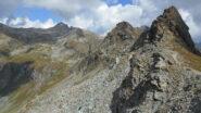 La lunga cresta percorsa, vista dal Colle Palasinaz