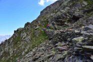 Il bel sentiero con muretti verso il Col des Chevaux