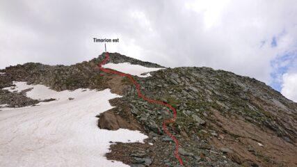 Il percorso per la punta est