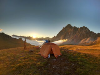 Le nostre tende al tramonto... molto suggestivo