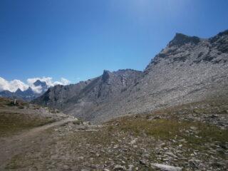 punta d'Alp e Caramantran scendendo dal colle Chamoussiere