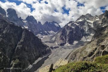 Panorama sul Glacier Noir dalla sosta di L10