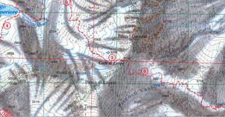 Stralcio cartina con le due cime salite ed il colle.