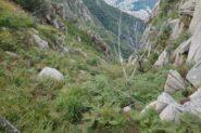 Il canale di discesa dal Colle delle Capre