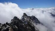 Cresta sud del Lagginhorn e Weissmies quasi coperto dalle nuvole