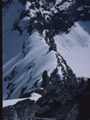 La cresta della Via Normale vista dalla vetta.