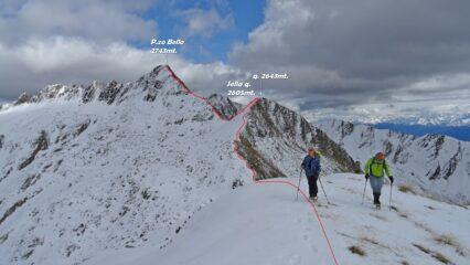 Cima Vignone, in rosso il percorso fatto.