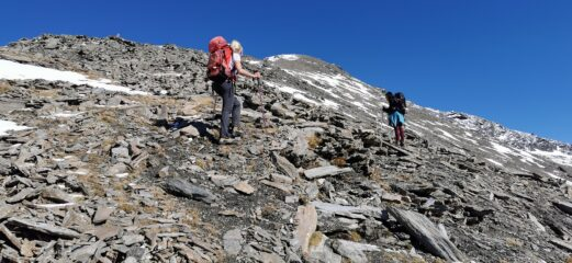 salendo lungo il crestone SO del Roc del Boucher a quota 2990 m