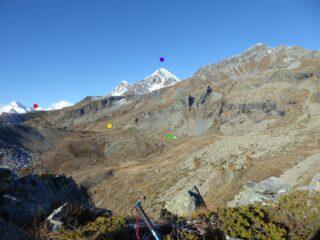 Baite Raty Dessous e Dessus (verde e giallo), colletto 2416 (rosso), monte Glacier (viola)