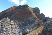 Percorso di salita alla Rocca Moross