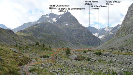 In rosso la traccia del percorso.