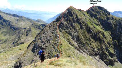 Dal M. del Tonale 2425mt. proseguiamo  sulla cresta che porta al M.Spondone. La traccia in rosso.