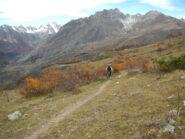 il tratto di sentiero ciclabile verso il Colle Serasin