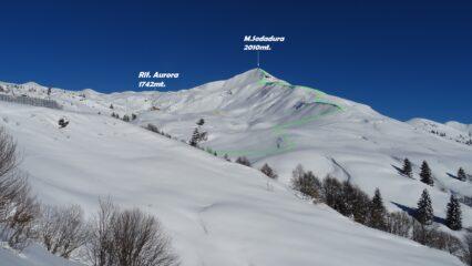 In verde la traccia per la cresta SO.