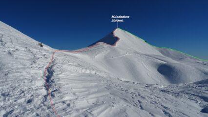 Ora tocca al M.Sodadura, in rosso la salita sulla cresta NO, in verde la discesa sulla cresta SO.