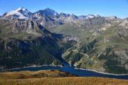 Veduta su Tignes, la Grande Casse e la Grande Motte