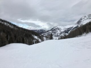 La parte bassa del vallone dal punto in cui ci siamo fermati. Contro il cielo, la cima del Bosco sopra Thures (foto F. Maso).