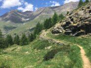 Sull'Altavia a Teppelunghe, il sentiero curva e si addentra nella Valle dell'Urtier