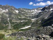 In alto la conca dove e' posto il Lago di Pietra Rossa, meta di escursione una decina di anni prima