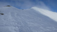 la cresta di salita vista dal Passo Tanarello
