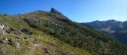 Alpeggio Crotey Desot lunego il sentiero per il Col Crotey, visibile in alto a sx