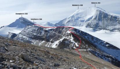 parte alta dell'itinerario di salita visto durante la discesa dall'Inners Barrhorn