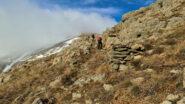 salendo lungo il versante Est del Reixa a quota 950 m