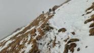 la prima neve incontrata circa a 1000 m salendo in direzione Faiallo