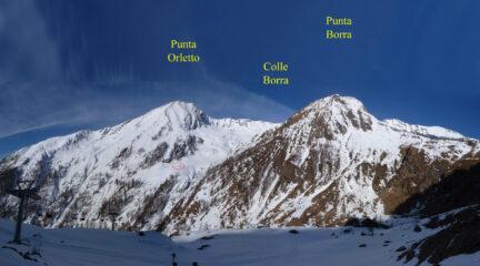 Il Colle e la Punta Borra, visti dal percorso per la Cima del Rospo nel 2013