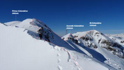 Dal M.Dasdana la visuale panoramica della cresta da percorrere per il M.Colombine.