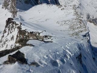 la cresta percorsa per arrivare in cima