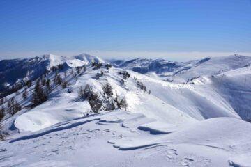 Veduta verso Sud dalla quota 2230 m a Nord della Cima Farenga