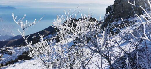 incantevole ambientino invernale scendendo verso il Bivacco Gilwell