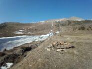 Da sotto la parte iniziale del traverso: poca neve