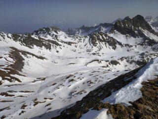 Vallone della Reale, a nord del Rospo con parecchi skialp in discesa dalla Beccher.