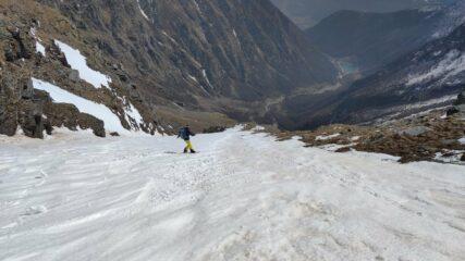 Il fantastico canalone. 650 mt di neve e pendenza costante
